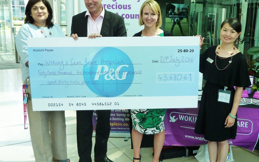 Procter & Gamble donate over £42,000 to Woking & Sam Beare Hospices