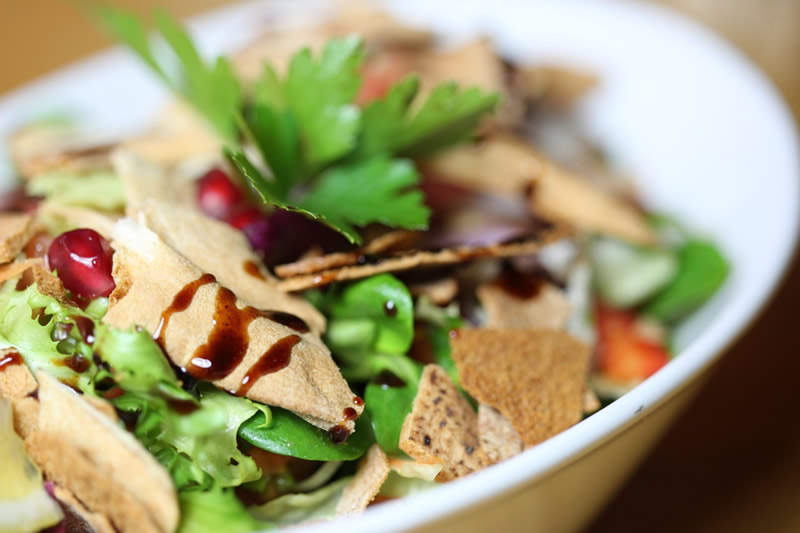 Lebanese Cuisine at Meejana Restaurant & Bar Weybridge Surrey & London - Dishes include Fattoush