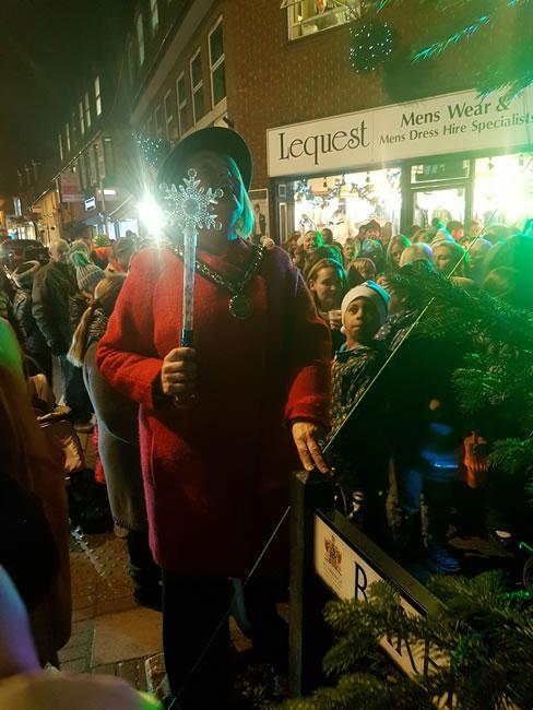 The Deputy Mayor of Elmbridge with Magic Wand to Switch On Weybridge Town Christmas Lights