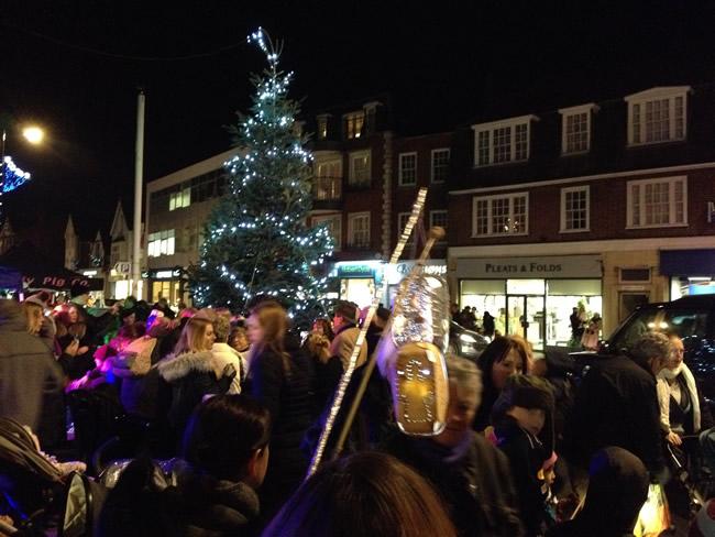Weybridge Christmas Tree Lights Switch on with Parade of Lanterns