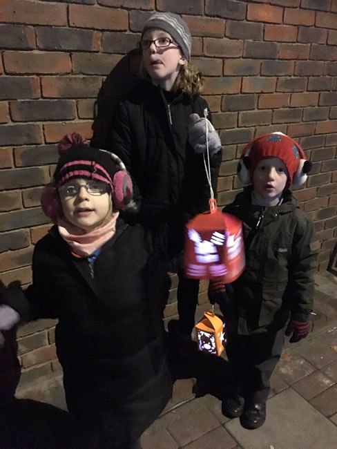 Children with lanterns for the parade at Weybridge Town Christmas Tree Event