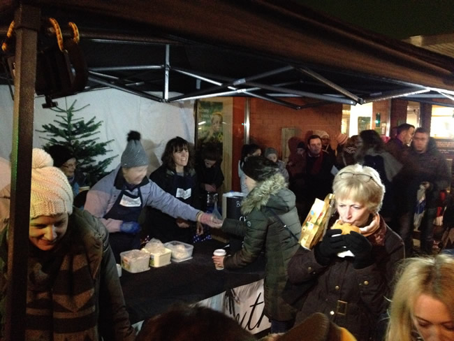 Enjoying Food and Festive Drinks at Weybridge Christmas Tree Light Switch On Event