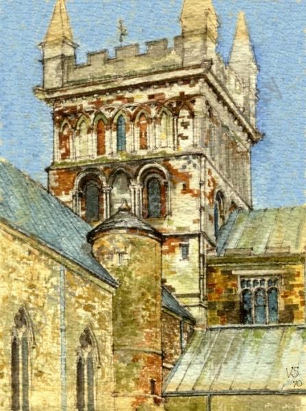 Wimborne Minster - Painting by Weybridge Art Society member Victor Spink