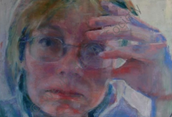 Weybridge Art Society Painting - Self Portrait by Jenny Stone