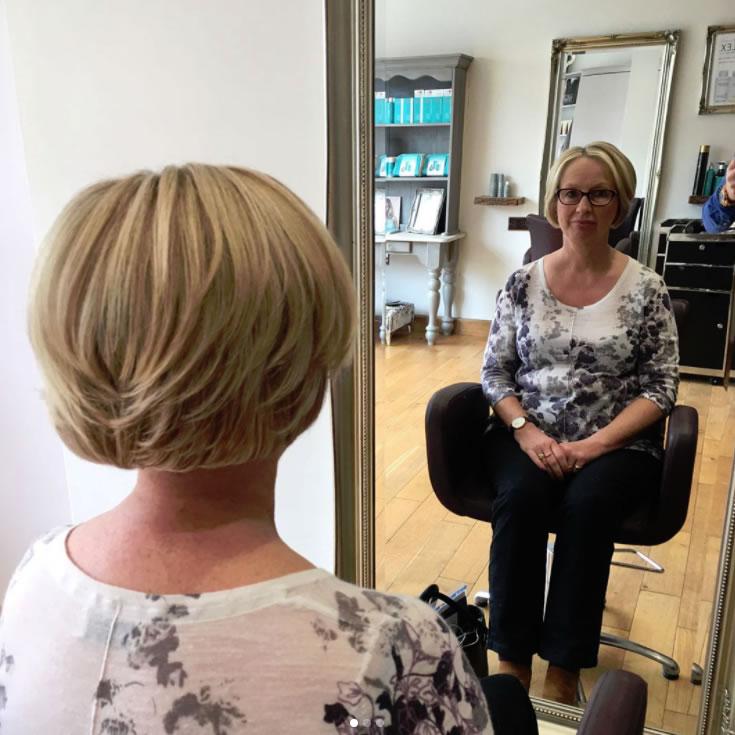Colour Cut & Style By Weybridge Hair Salon Owner Lewis  Bob Hair Style Blonde Highlights using Wella Color Toner Olaplex Moroccan Oil