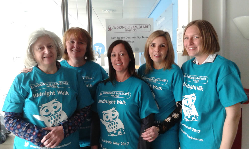 Hospice Heroes – The Community Nurses Team At Sam Beare Hospice Weybridge Ready For The Midnight Walk – How You Can Support Them