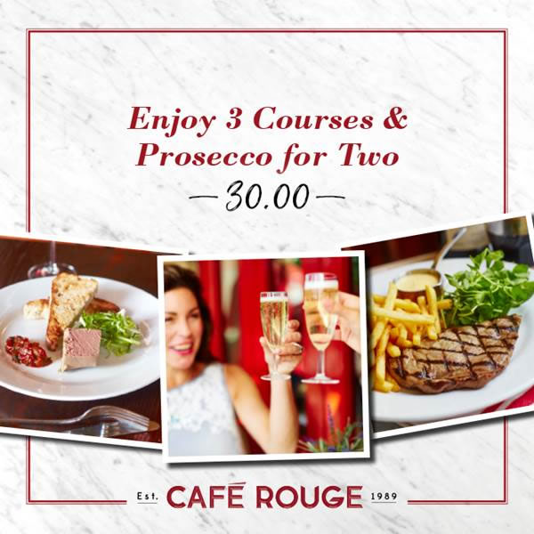 Cafe Rouge  Course Menu With Prosecco