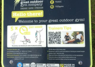 Welcome Instructions - Exercise Tips for Cobham Outdoor Gym - Elmbridge Borough Council Recreation Ground