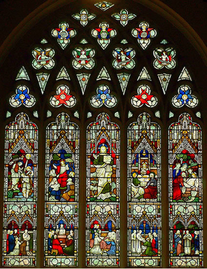 Stained glass window at Parish Church of St James' Weybridge Surrey