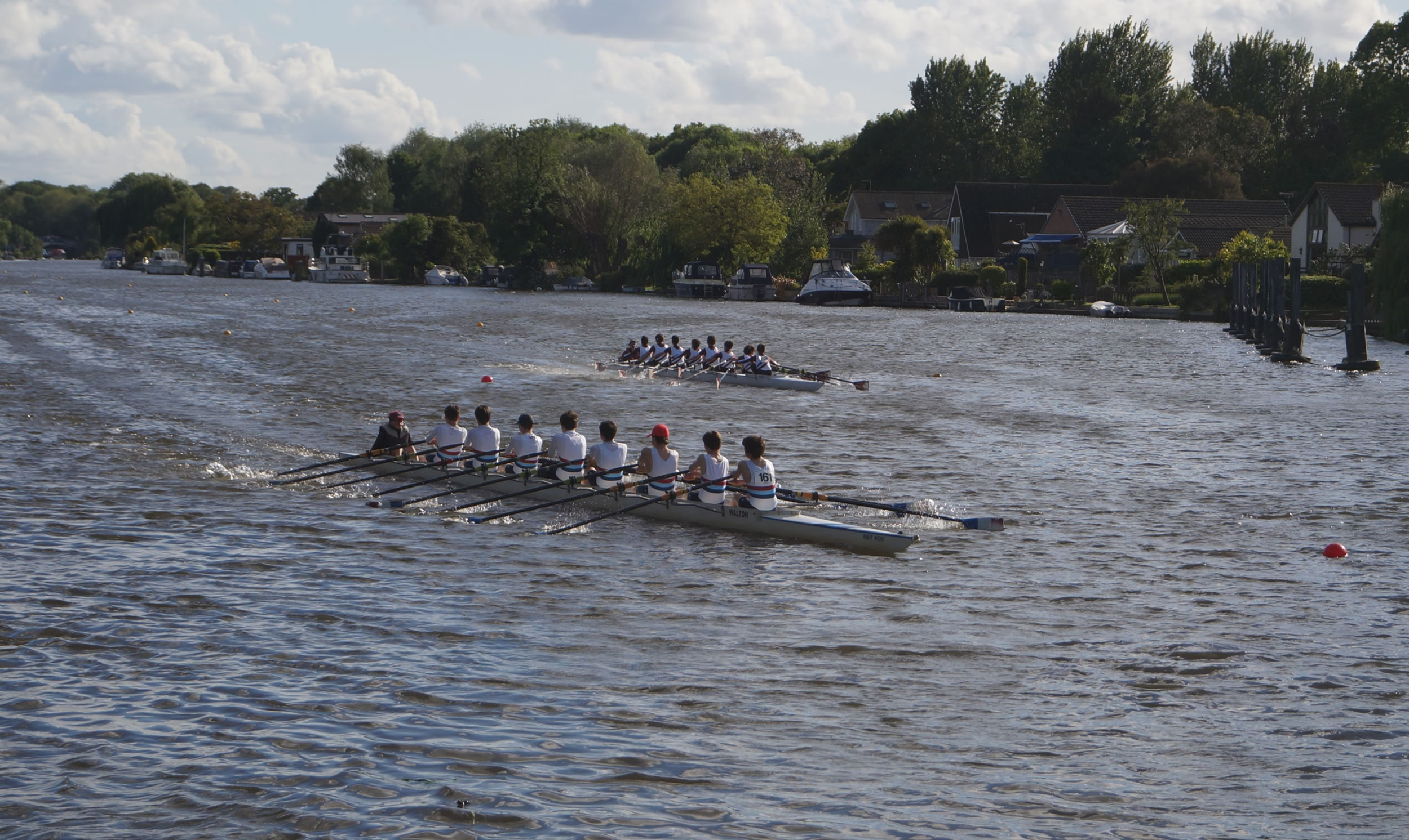 Rowing clubs from Walton, Weybridge, Molesey and St Georges College compete at the Regatta