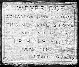 Weybridge Congregational Church Memorial Stone