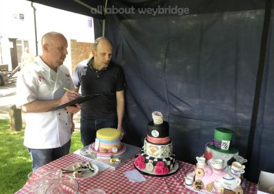 Jonathan Woodgate of Simply Cakes and Chris Bachmann of Bachmanns Patisserie judge the Celebration Cakes at the Weybridge Bake-Off