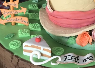 Mad Hatters Tea Party - Detail view of Winning Cake in Bake Off Competition on Monument Green Weybridge Surrey