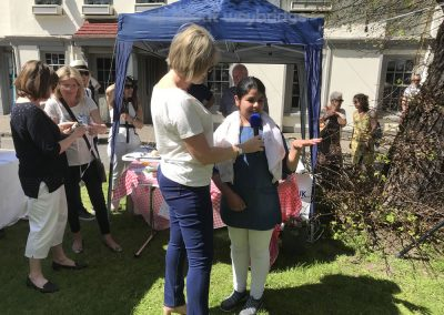 Runner up of Junior Family Bakes speaks with Ruth Langsford at Great Weybridge Cake-off