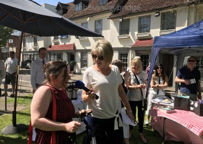 Runner up of Small Bakes Competition speaks with Ruth Langsford at Great Weybridge Cake-off