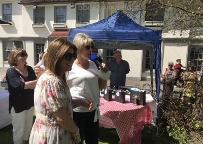 Shop Bluebell 33 owner - Runner up of Family Cakes Competition laughing with Ruth Langsford at Weybridge Bake-off
