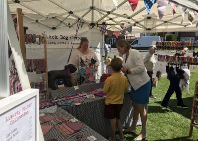 The Black Dog Company - Handmade collars leads & bandanas for dogs - Stall at Artisan Market on Monument Green Weybridge Surrey