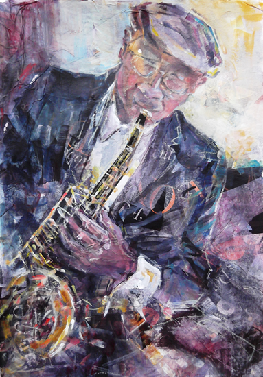 Art - Painting of Sax Player at Jazz Club by Woking Surrey Artist Sera Knight