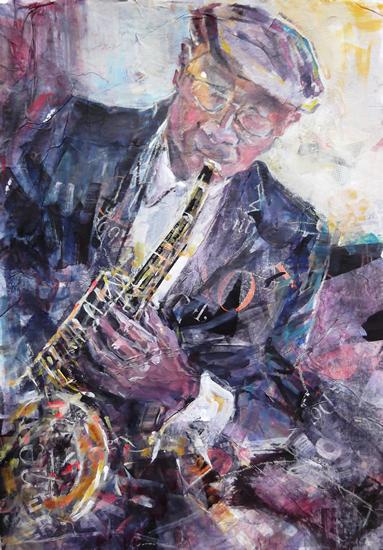 Art - Painting of Sax Player at Jazz Club by Woking Surrey Artist Sera Knight