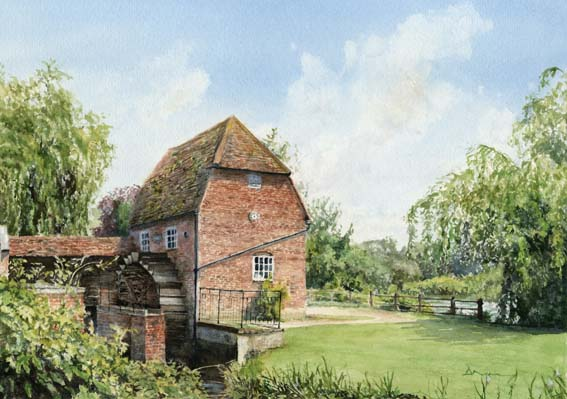 Cobham Mill Elmbridge Surrey - Painting By Woking Surrey Artist David Drury