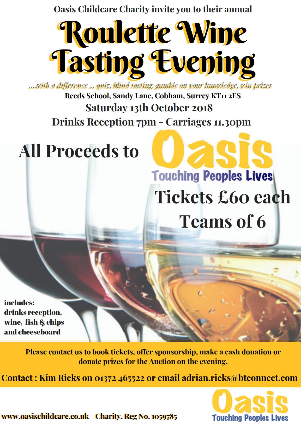 Quiz, Wine Tasting and Roulette Charity Evening Flyer - Oasis Childcare Cobham Elmbridge Surrey