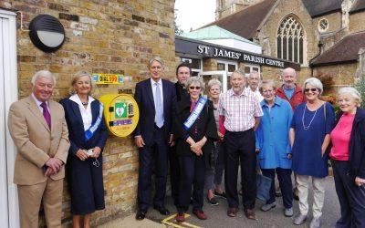 Community Defibrillator Installed At St James' Parish Centre Weybridge