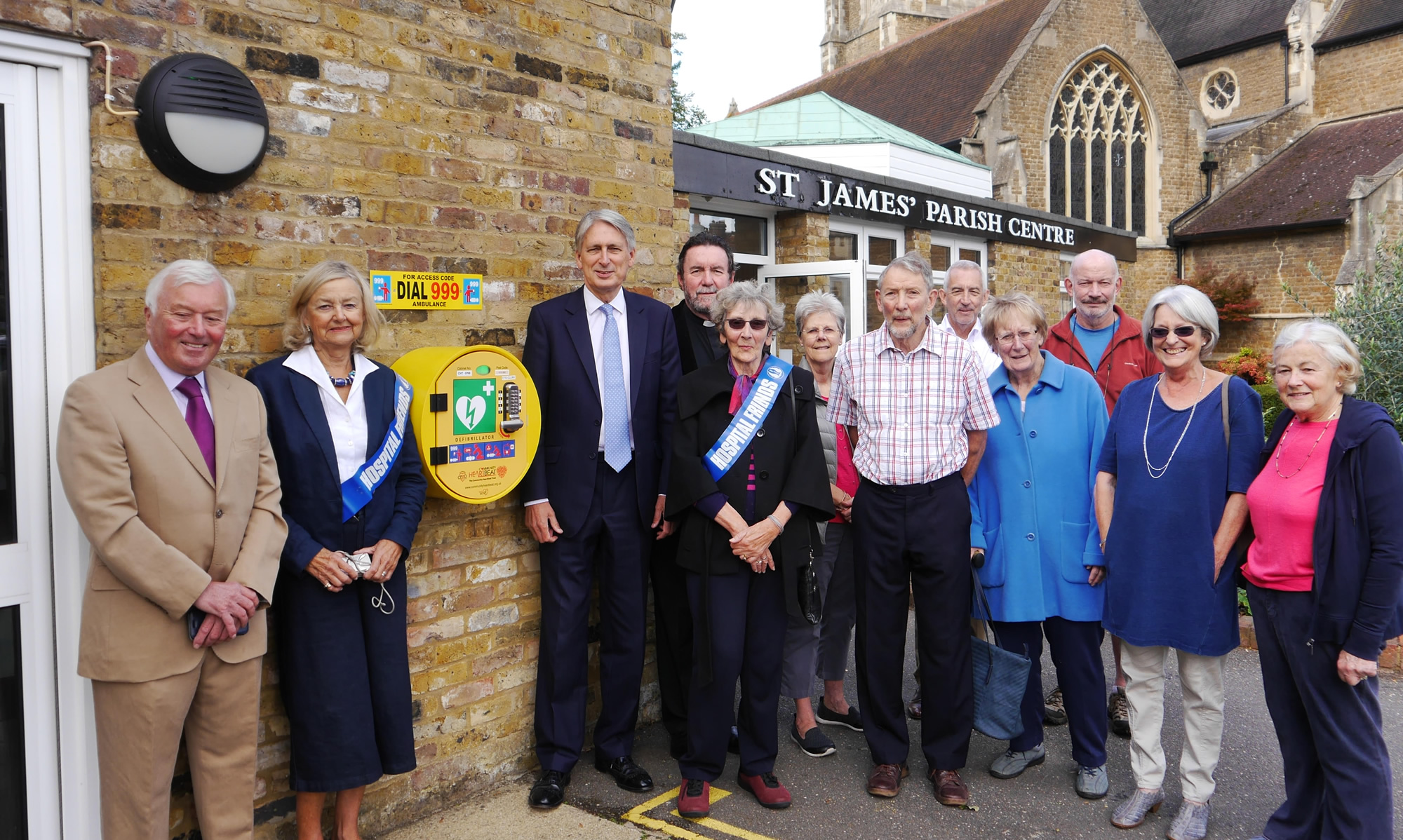 Pictured L.to R. are: Keith Wallis, Philippa Holcroft, Rt.Hon.Philip Hammond MP, Rev.Brian Prothero, Jackie Roberts, Jill Wilson, David Brown, Chas Burston, Anne Cotton, Colin Fozard, Margaret Wicks & Alison Lornie.