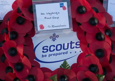 4th Weybridge Scout Group Wreath at the War Memorial Monument Hill