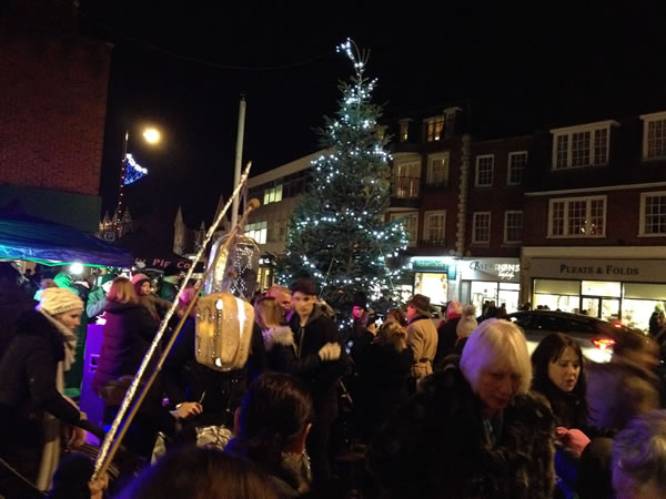 Christmas Market and Lights Switch On in Baker Street Weybridge