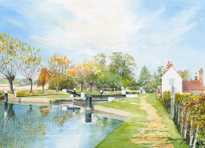David Drury Art - Triggs Lock on Wey Navigation Canal Painting