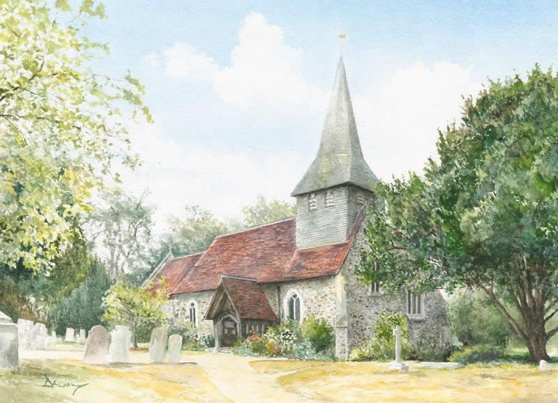 St Marys Church Byfleet near Woking Surrey - David Drury Art