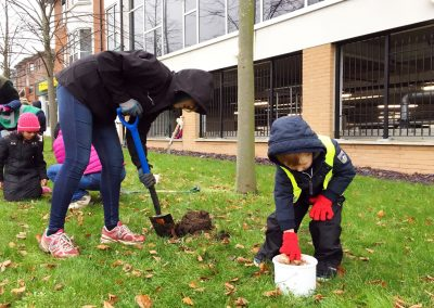Weybridge In Bloom Bulb Planting outside Morrisons Supermarket