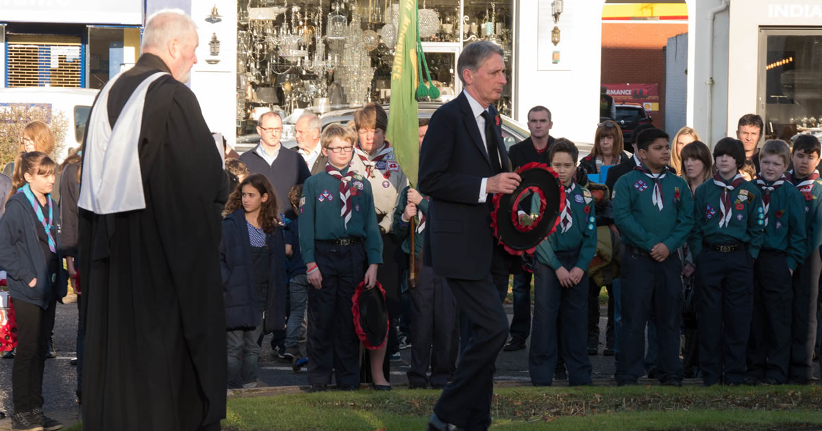 Weybridge MP Philip Hammond - Wreath Laying Ceremony at the War Memorial Monument Hill