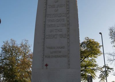 Weybridge War Memorial Monument with Wreaths and Poppies