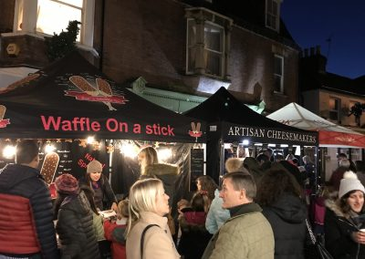 Food Stalls in Baker Street at Xmas