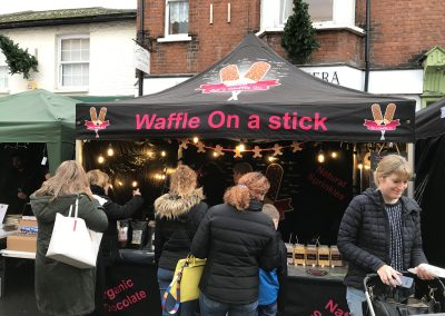 Waffle On A Stick Food Stall at Weybridge Christmas Market
