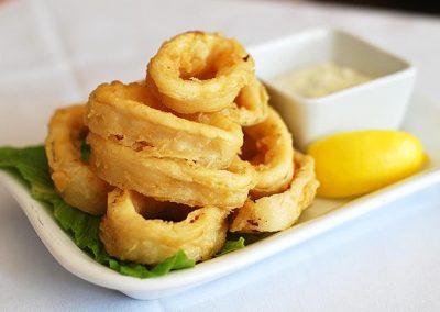 Calamari dish at Mazzat Lebanese Restaurant Weybridge Surrey