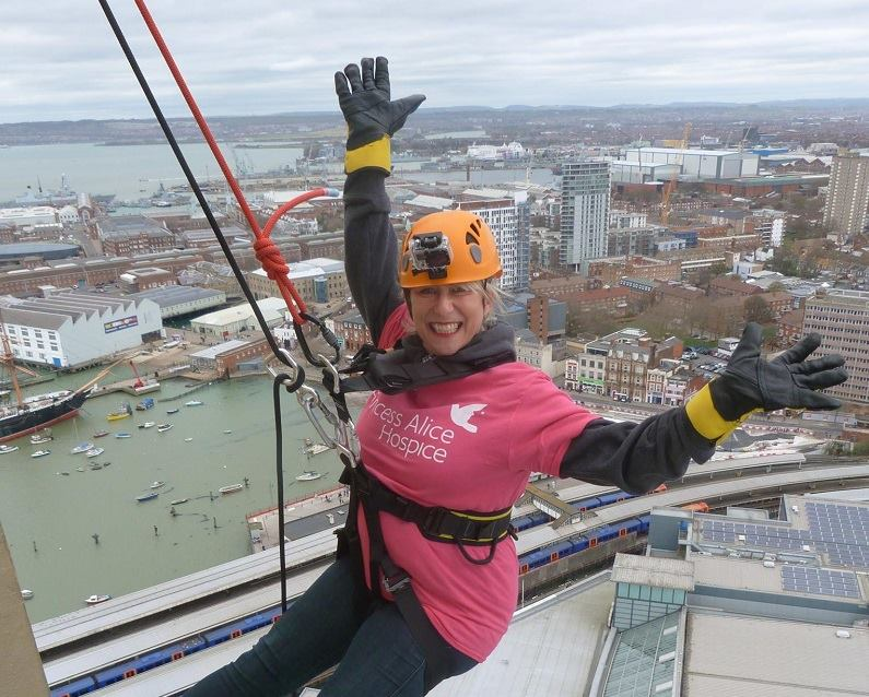Charity abseil for Princess Alice Hospice Esher Surrey