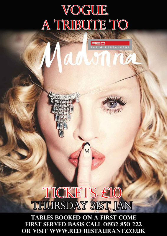 Madonna Tribute Elly Jarmain singing at Red Bar Weybridge January 2019 Poster