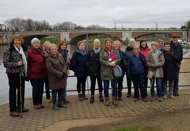 Walking group at Hampton Court East Molesey