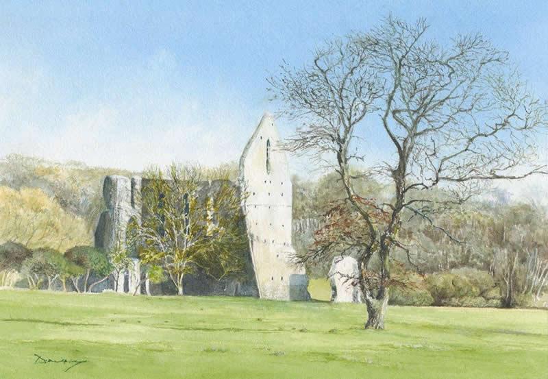 Newark Priory Ripley Near Woking Surrey - Painting by Artist David Drury of Byfleet Art Group
