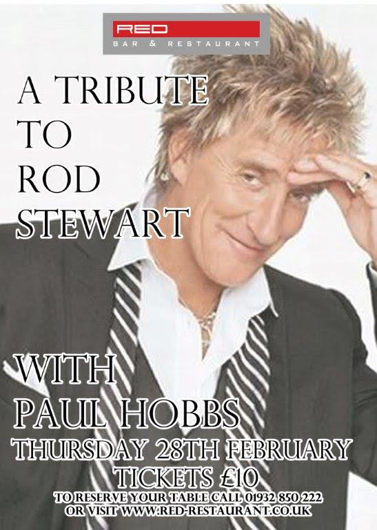 Rod Stewart Tribute Paul Hobbs singing at Red Bar Weybridge February 2019 Poster