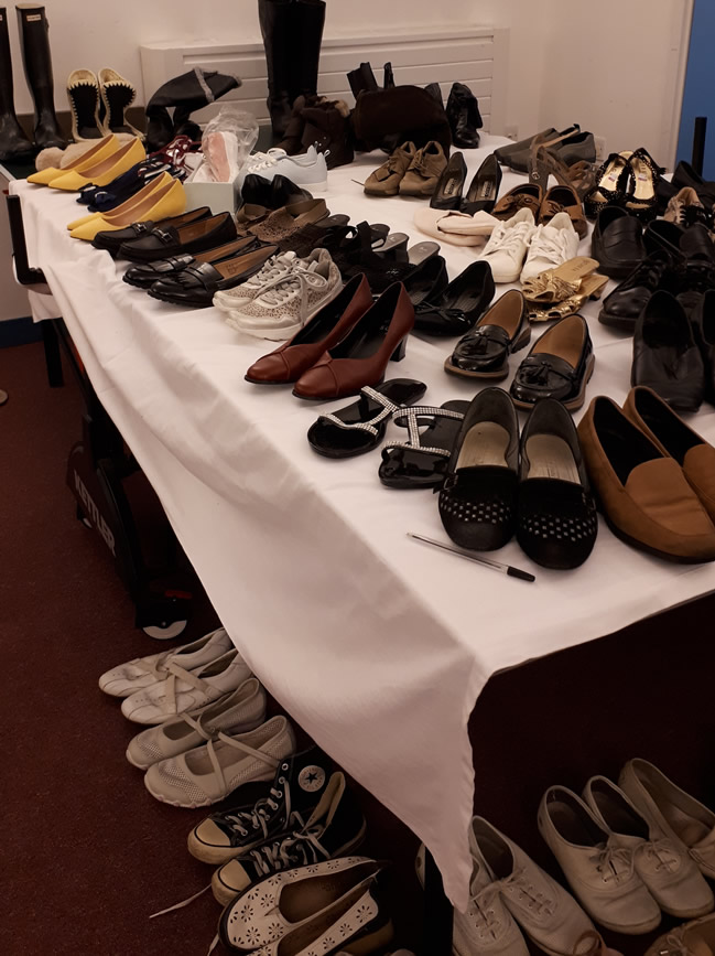 Shoes for Sale at Jumble Sale - Elmbridge Mencap Walton on Thames