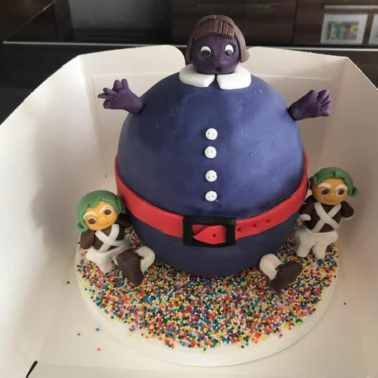 Childrens Winner made by Lucia Clark - Violet Beauregarde Chocolate and Blueberry Cake - Great Weybridge Cake-Off