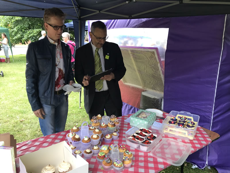 Edward Terry and Robert Navarro judging the small bakes category