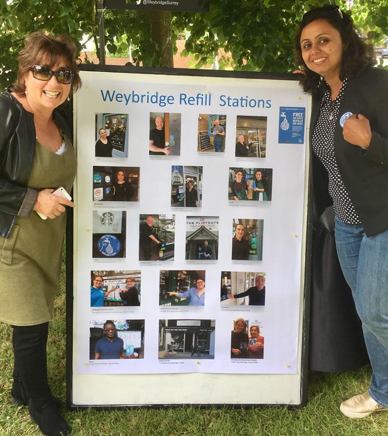 Liz Denham from Weybridge International School of English at Refill Weybridge stall