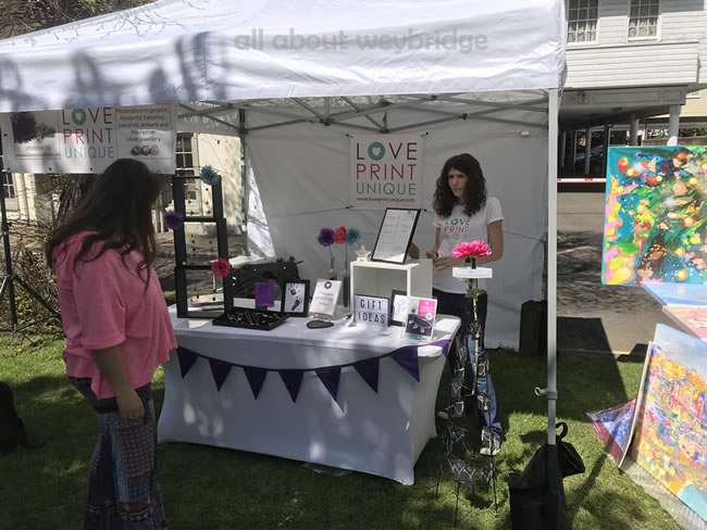 Love Print Unique - personalised jewellery handcrafted with care by Claire Sceats - Stall at the Artisan Market on Monument Green Weybridge Surrey