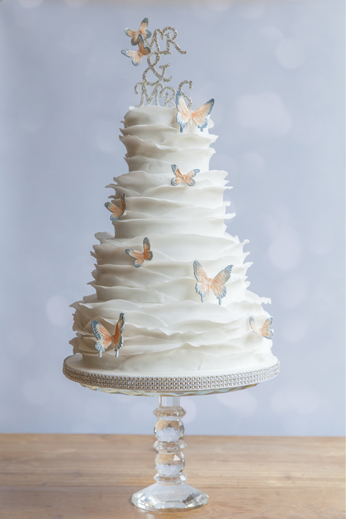 Walton Wedding Cakes - Ruffles Peach Butterflies
