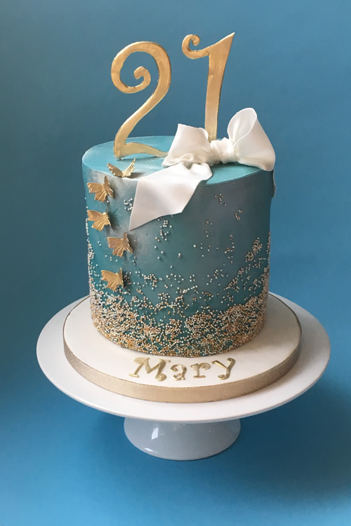 Weybridge Birthday Cake - 21st - Gold Butterflies