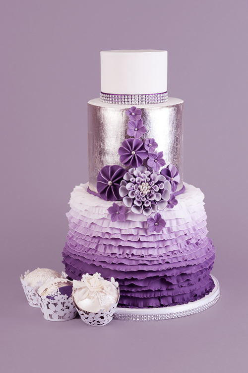 Weybridge Hershm Cobham Wedding Cakes - Ruffles Ombre Purple